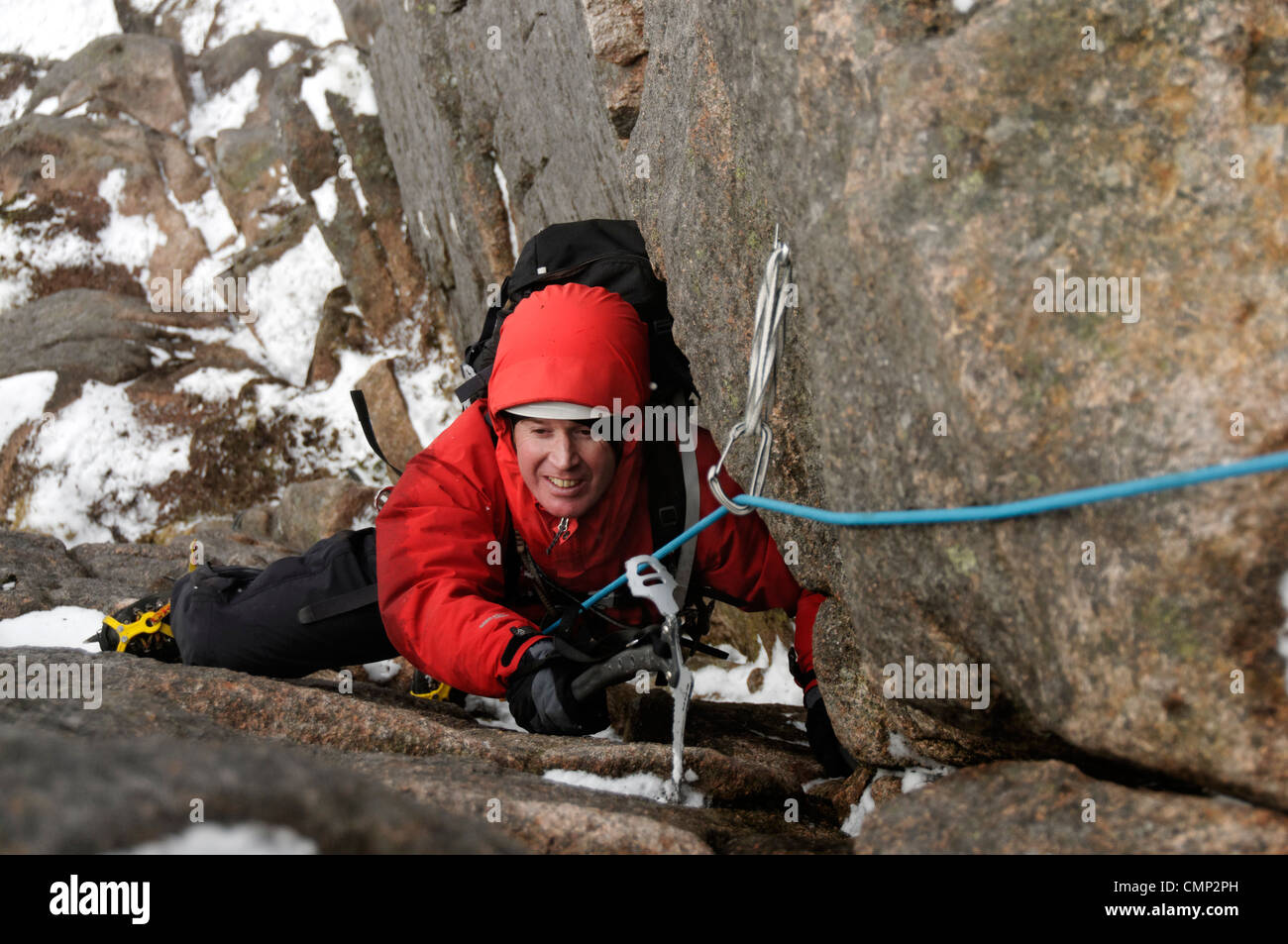 Winter climbing on the Mess of Pottage Cairngorms - Stock Image