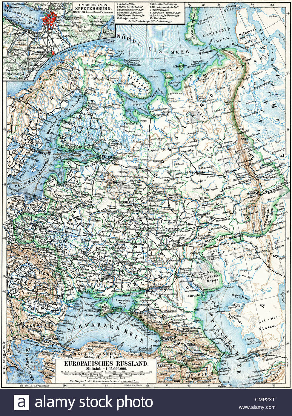 Map of the European part of Russian Empire Stock Photo: 47199120 - Alamy