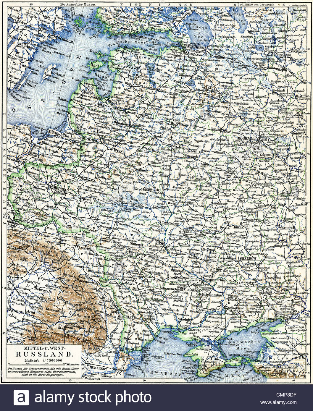 Map of the European part of Russian Empire Stock Photo: 47199531 - Alamy