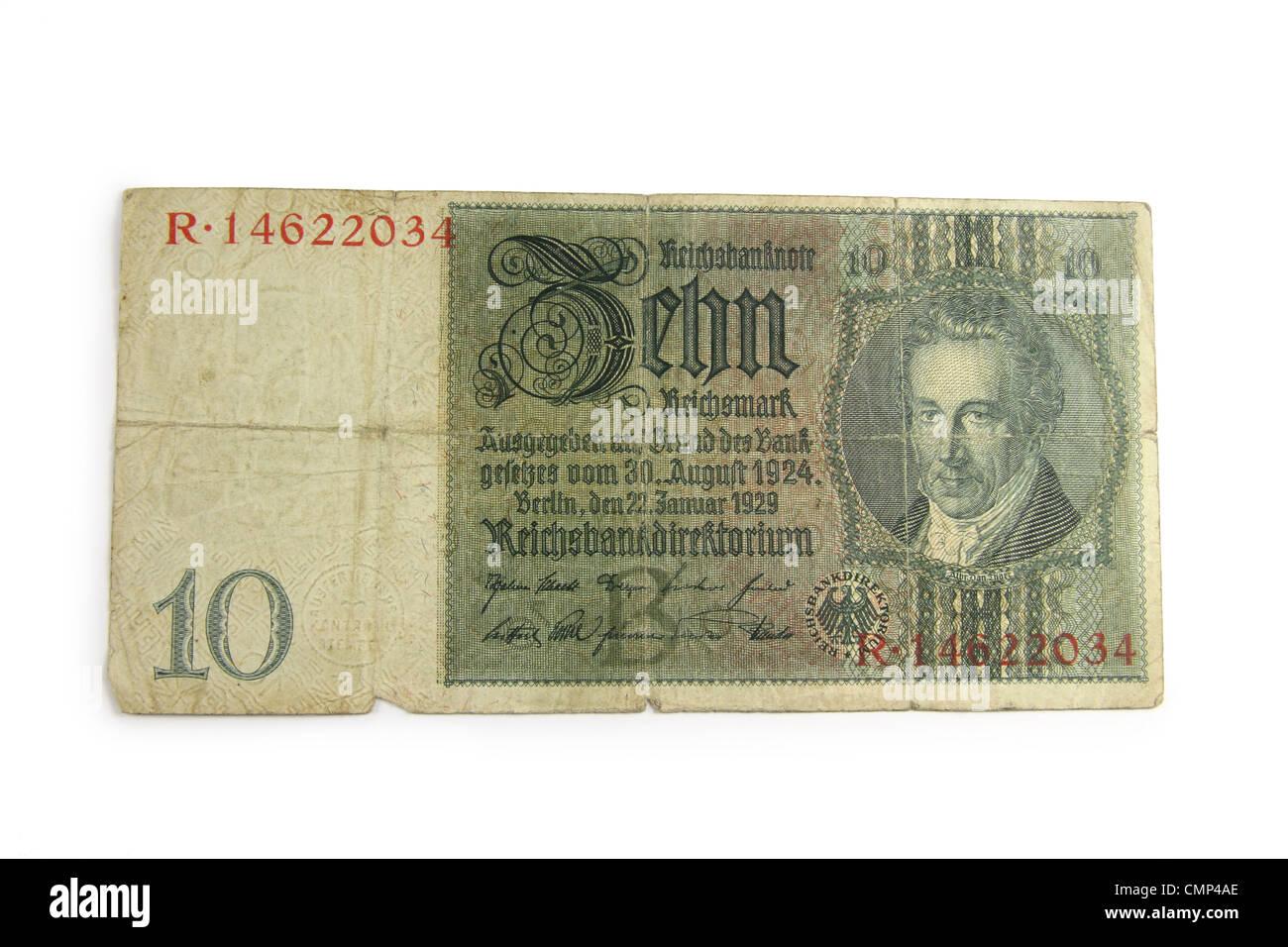 "German 1929 ""10 Mark"" bill from the Reichsbank. Stock Photo"