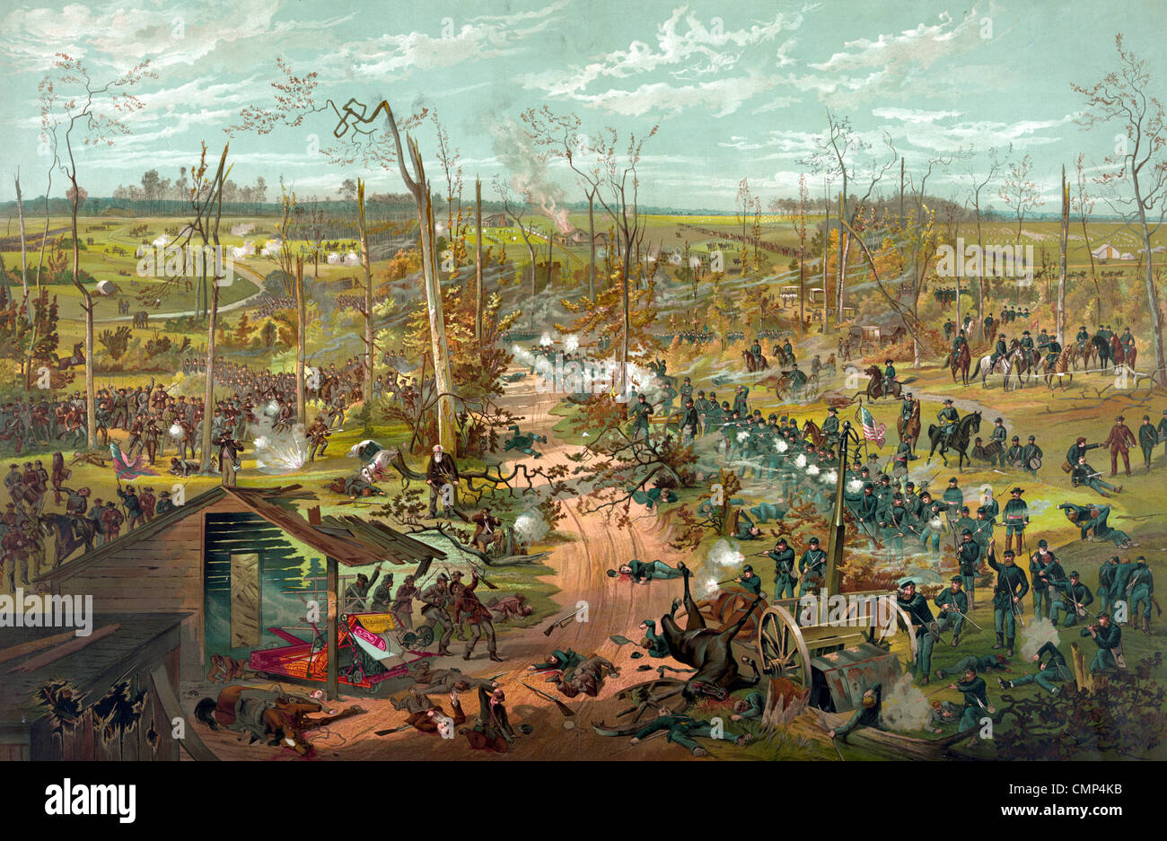 The Battle of Shiloh, also known as the Battle of Pittsburg Landing, battle in the Western Theater of the American - Stock Image