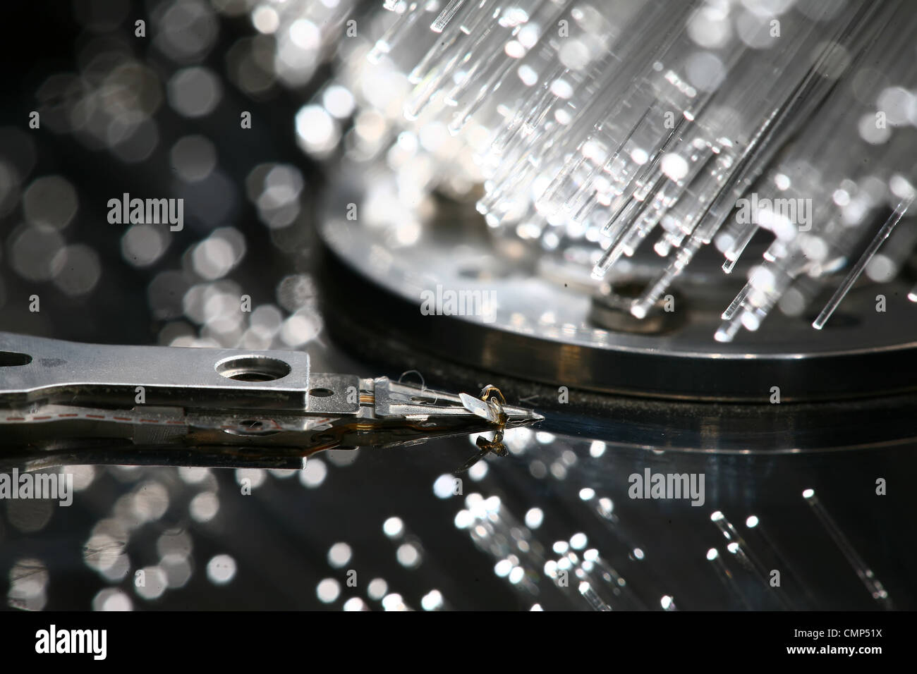Fiber optics background with lots of light spots - Stock Image