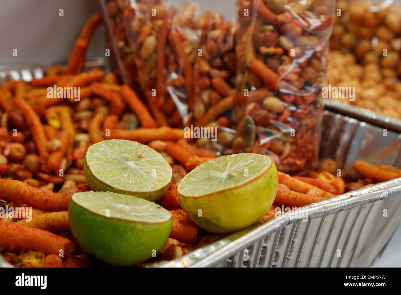 Junk food for sale in Mexican market. - Stock Image