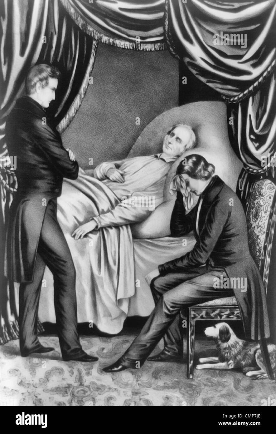 Death of Honorable Henry Clay (April 12, 1777 – June 29, 1852): 'My son i am going, sit by me'. American - Stock Image
