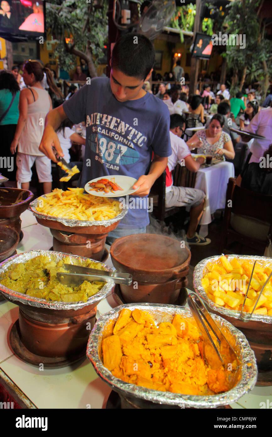 Lima Peru Barranco District Parque Municipal Restaurante Rustica restaurant business crowded popular dining dinner - Stock Image