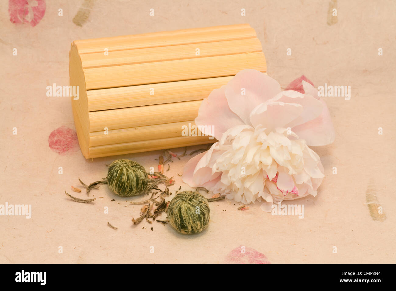 A mix lotus flower chinese tea with peony and bamboo stock photo a mix lotus flower chinese tea with peony and bamboo izmirmasajfo