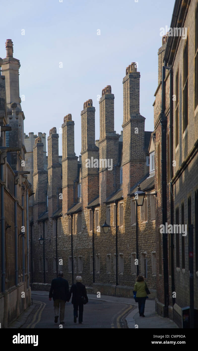 Tall Tudor chimneys along Trinity Lane, Cambridge, England - Stock Image