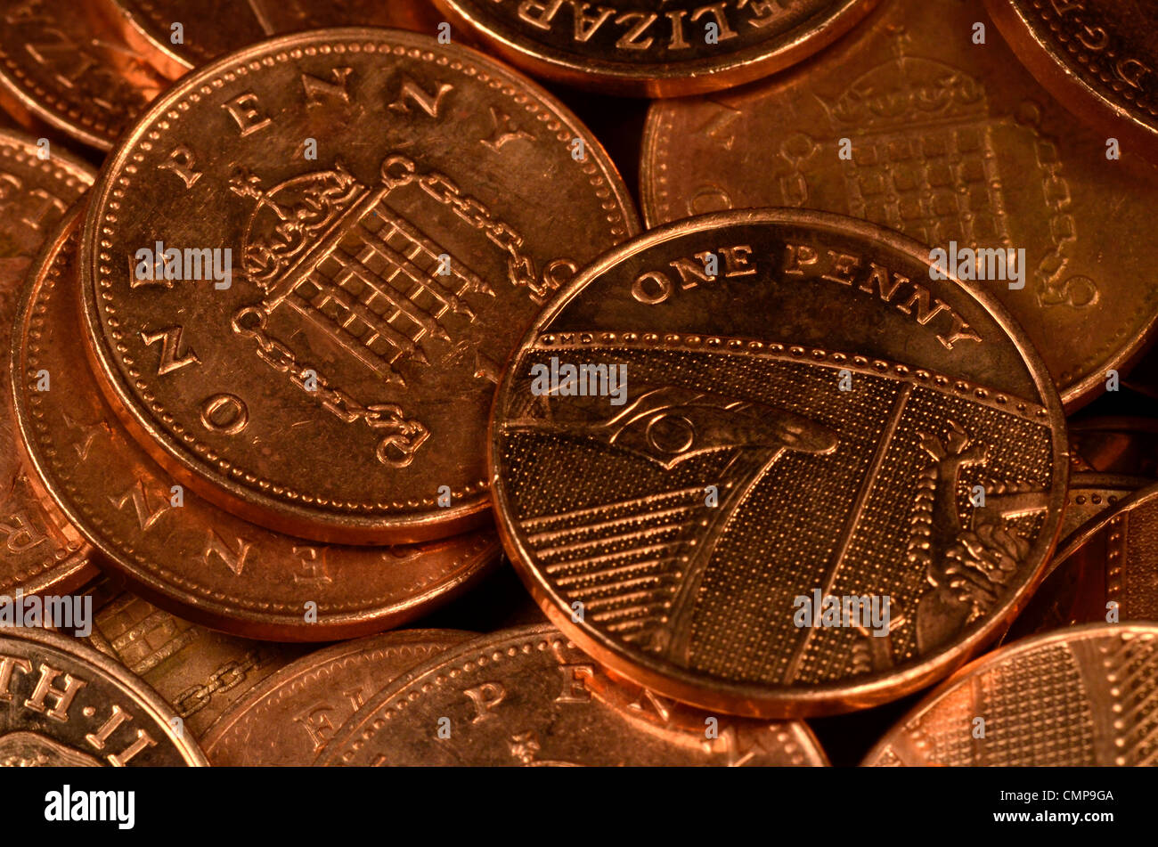 Close detail of UK one pence (1p) coin, single pennies. Stock Photo