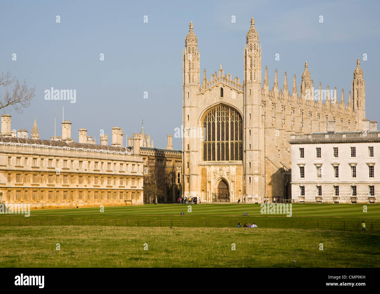 View over the Backs to King's College Cambridge university England - Stock Image