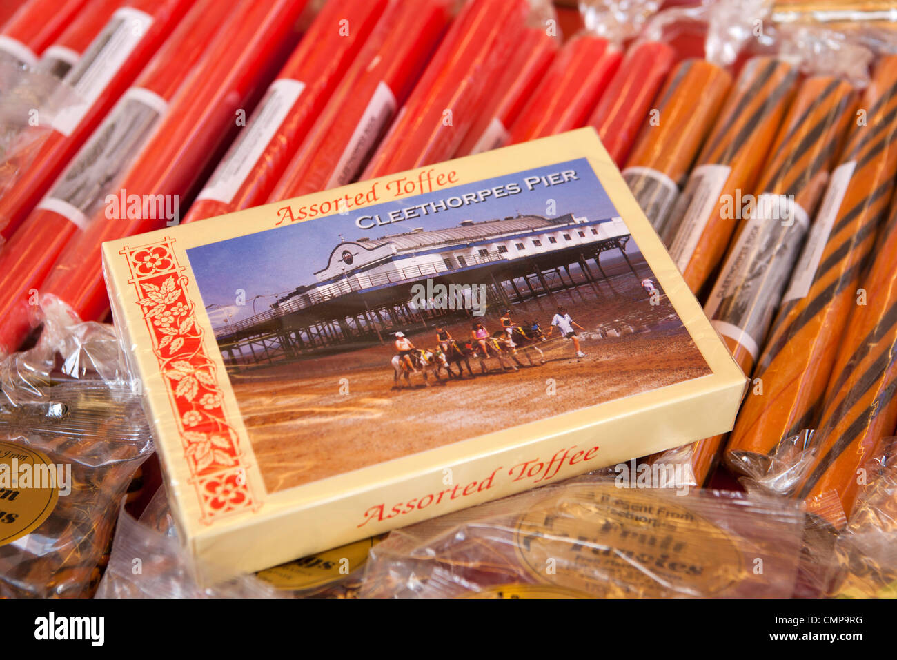 UK, England, Lincolnshire, Cleethorpes, box of Cleethorpes pier toffee at seafront rock and sweet stall - Stock Image