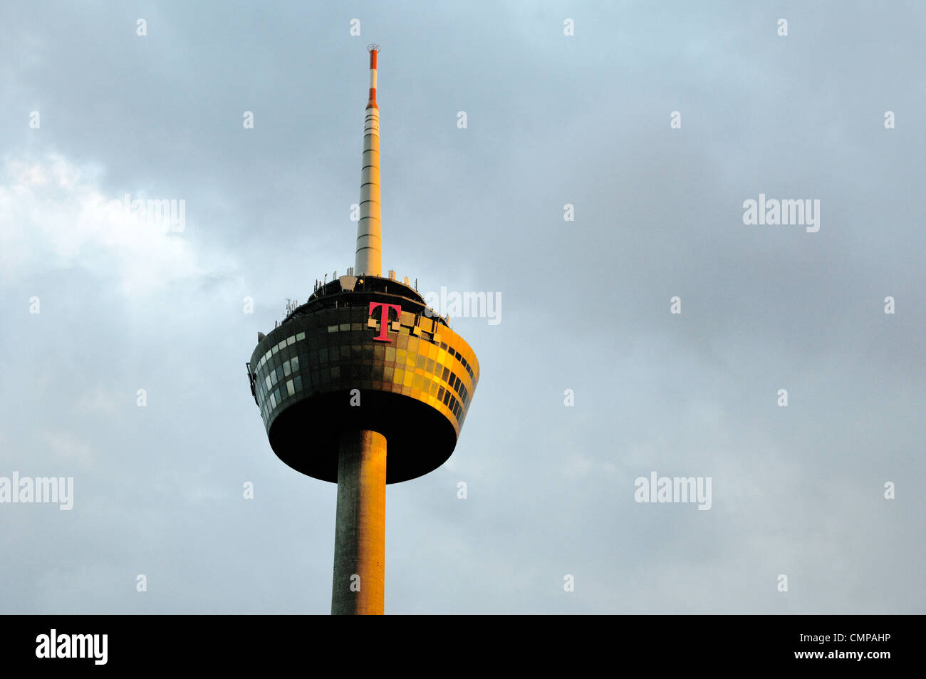 Colonius, the telecommunications tower in Cologne, Germany. Viewing platform and restaurant topped off by digital - Stock Image