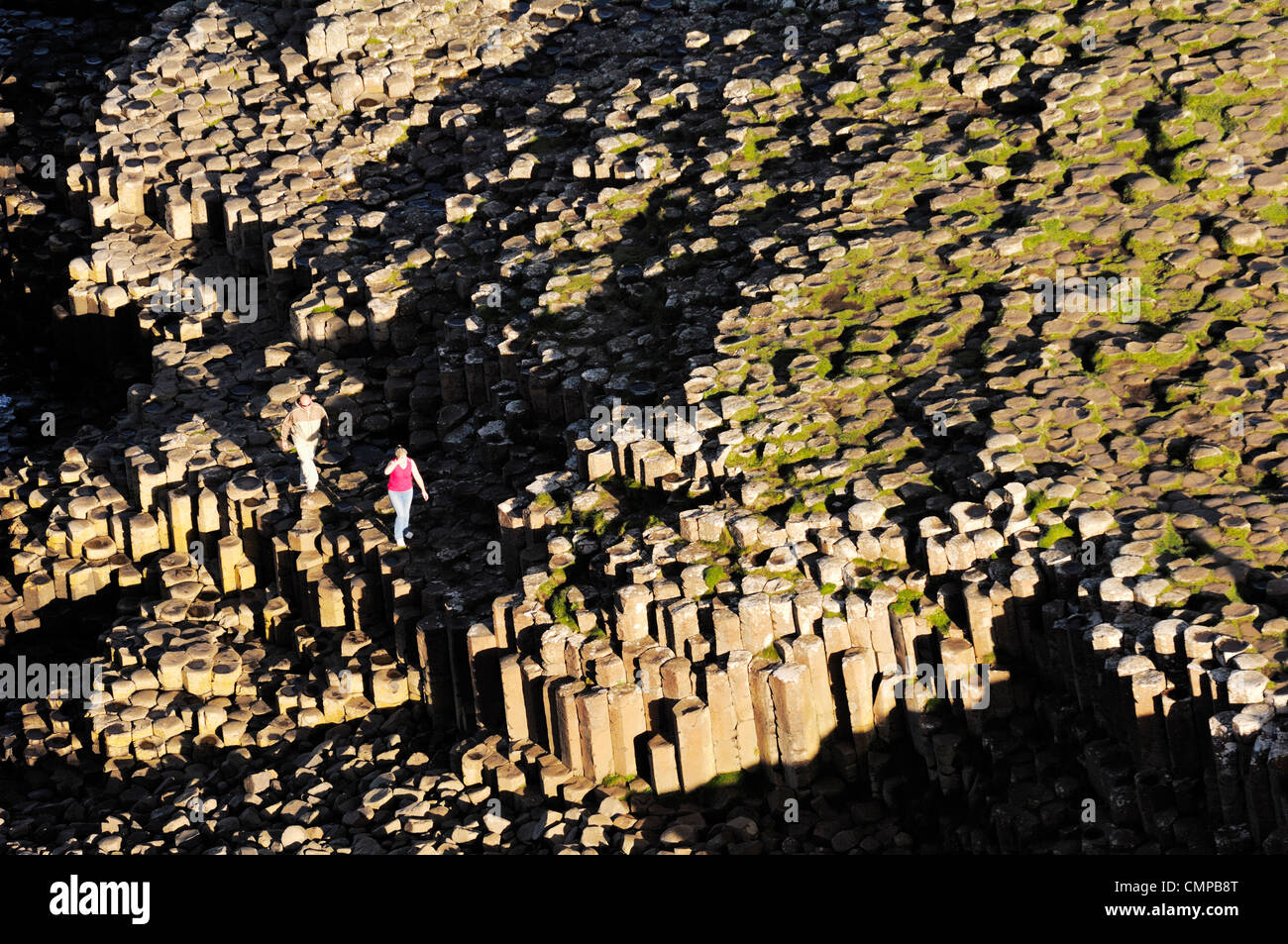 The Giants Causeway, Co. Antrim, Northern Ireland. Looking down from clifftop at hexagonal basalt columns of the - Stock Image