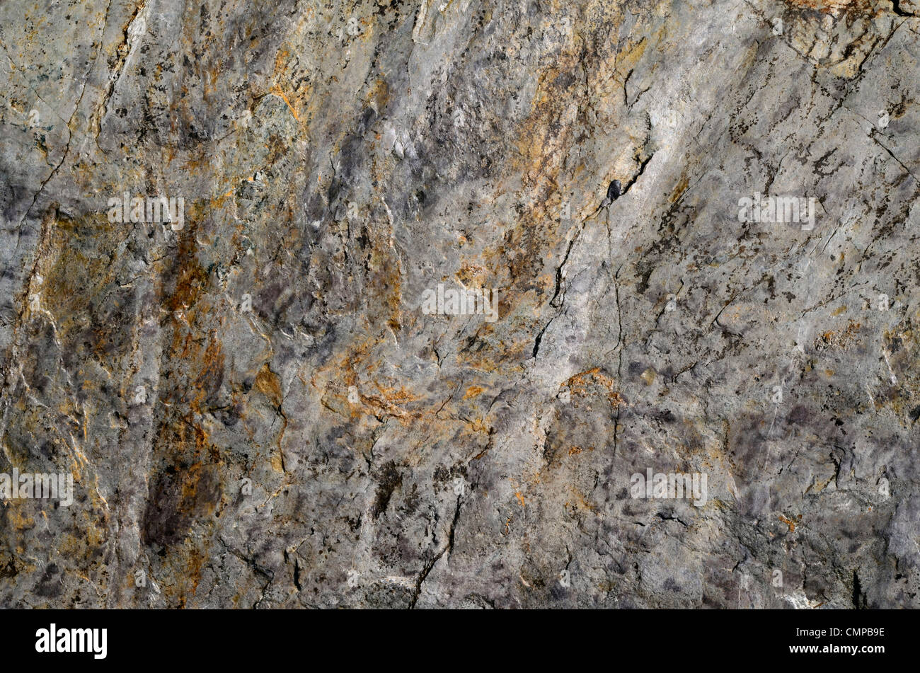 Weathered rock surface - shoreline SW of Looe, Mid-Cornwall. Concept 'fall on stony ground', warnings or - Stock Image