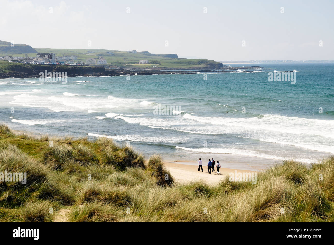 Southwest over beach of Runkerry Strand from Runkerry Trail, Portballintrae near Bushmills , County Antrim, Northern - Stock Image