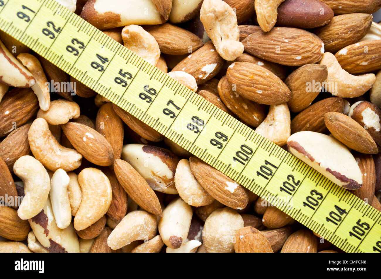 Nuts and measure tape - Stock Image