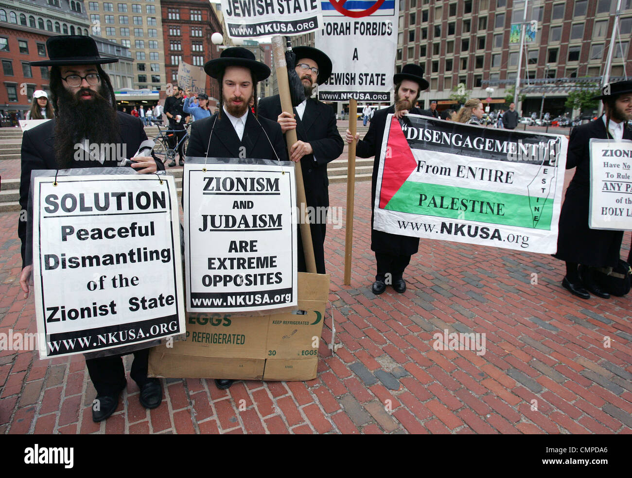 Ultra-Orthodox Jews protest on City Hall Plaza in Boston on the anniversary of the founding of the Jewish state. Stock Photo