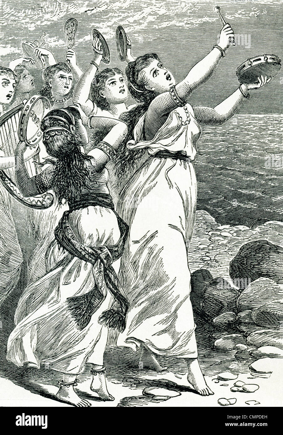 Miriam, the prophetess, was said to have led the women in song and dance to celebrate God's triumph over the - Stock Image