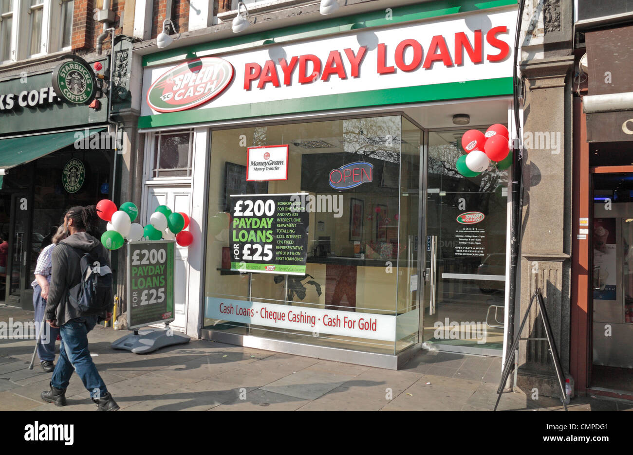 The Speedy Cash Payday Loans shop on 60 Uxbridge Road, Shepherd's Bush, London, W12, UK. - Stock Image