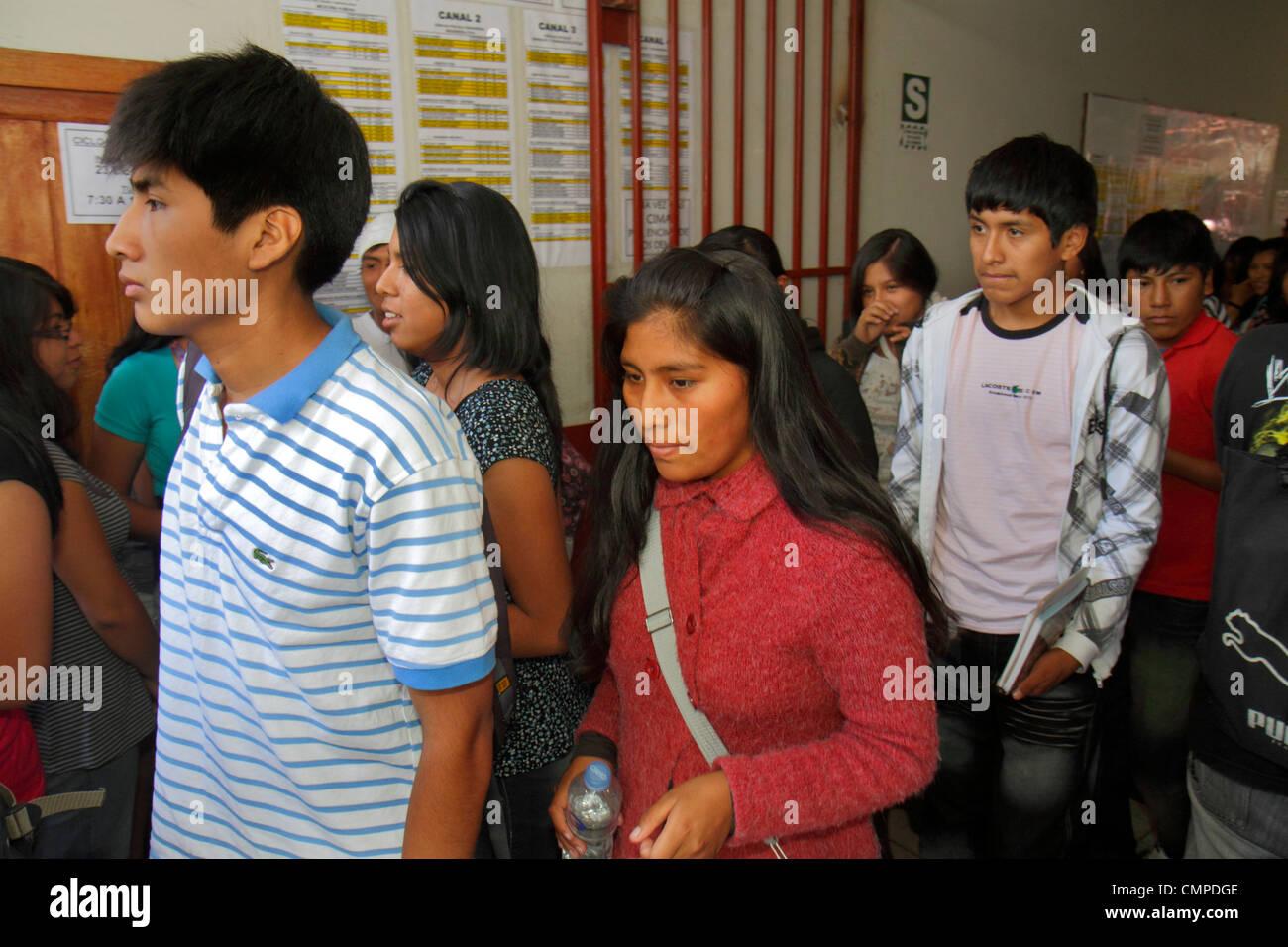 Peru Tacna Calle Hipólito Unanue CIMA Academia PreUniversitaria university preparatory school secondary education - Stock Image