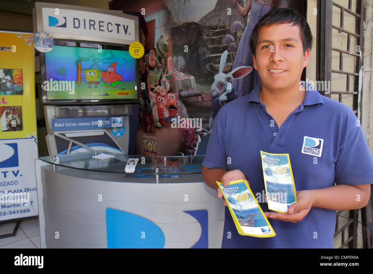 Peru, Tacna, Calle San Martin, DIRECTV, Direct TV, satellites television provider, technology, company, Hispanic Stock Photo
