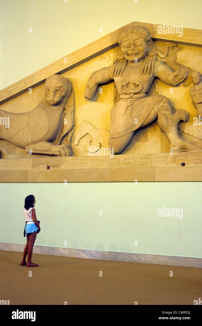Europe Greece Corfù  Archaeological Museum The pediment Gordon from the Doric temple of Artemis - Stock Image
