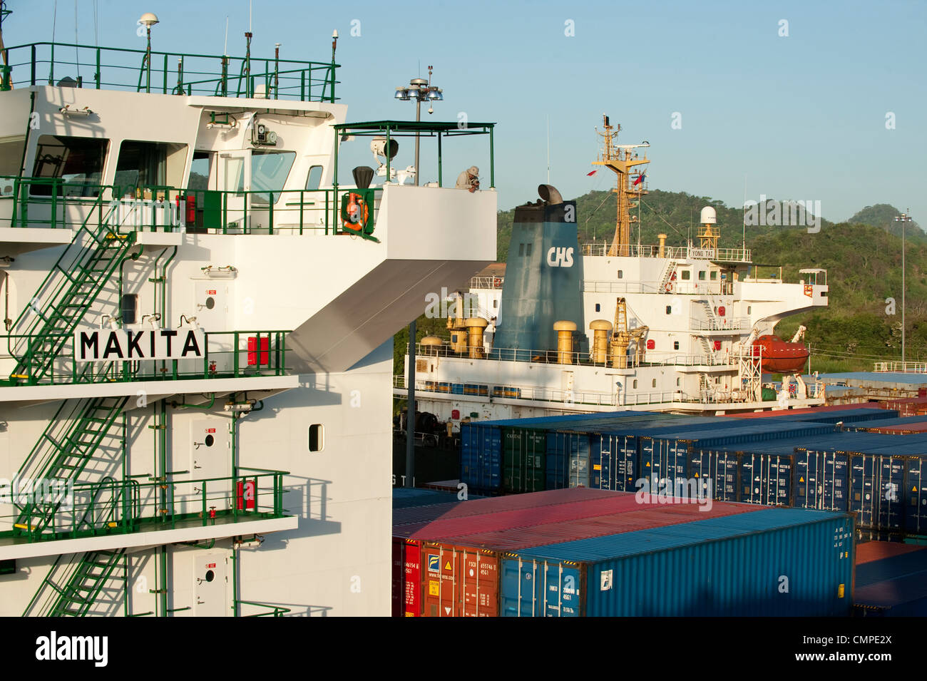 Superstructure of cargo ship at Miraflores Locks,Panama Canal - Stock Image