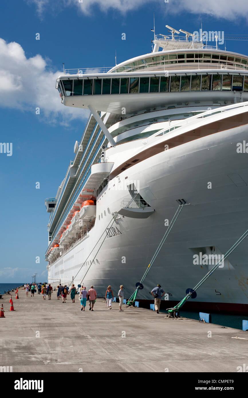 The Azura P&O Cruise Ship moored in St George's, Grenada - Stock Image