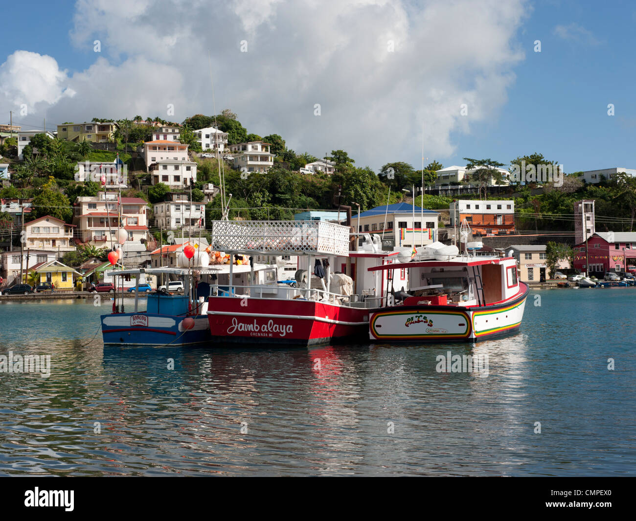 A view of the harbour in St. George's, Grenada Stock Photo