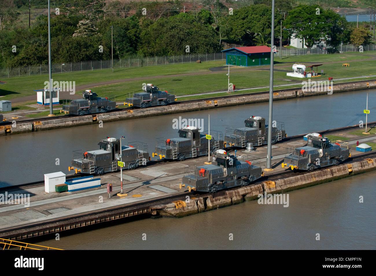 Group of locomotives at Miraflores Locks. Panama Canal - Stock Image