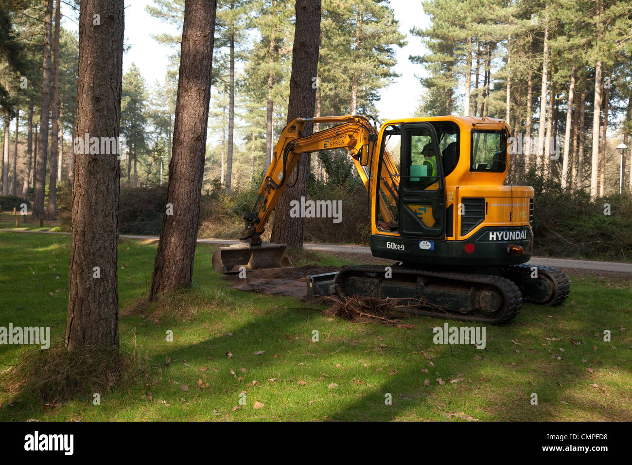 Machinery used for land management and forestry by Forestry Commission, Thetford Forest, Norfolk UK - Stock Image