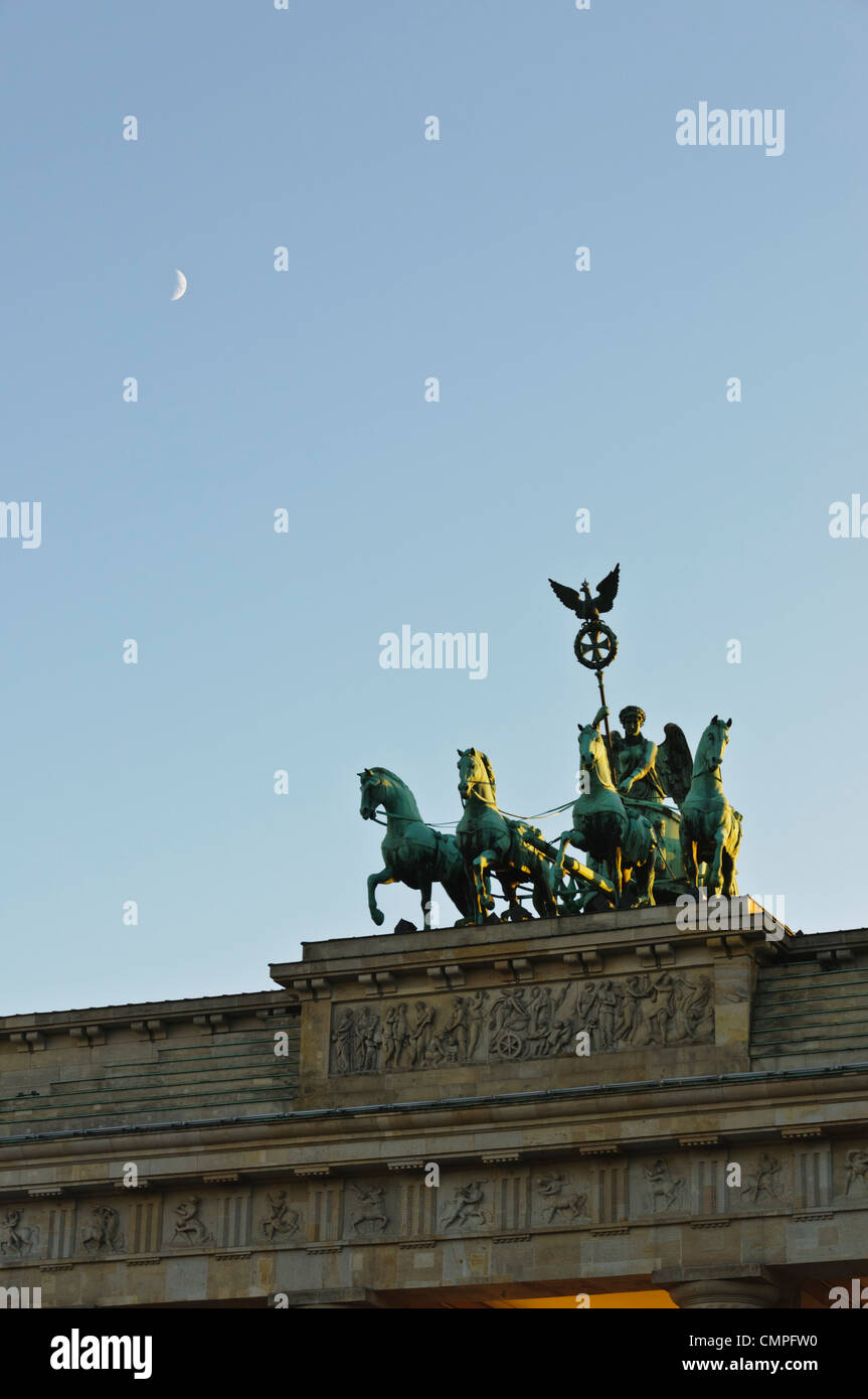 Quadriga Brandenburger Tor Brandenburg Gate Berlin Germany Europe - crecent moon Stock Photo