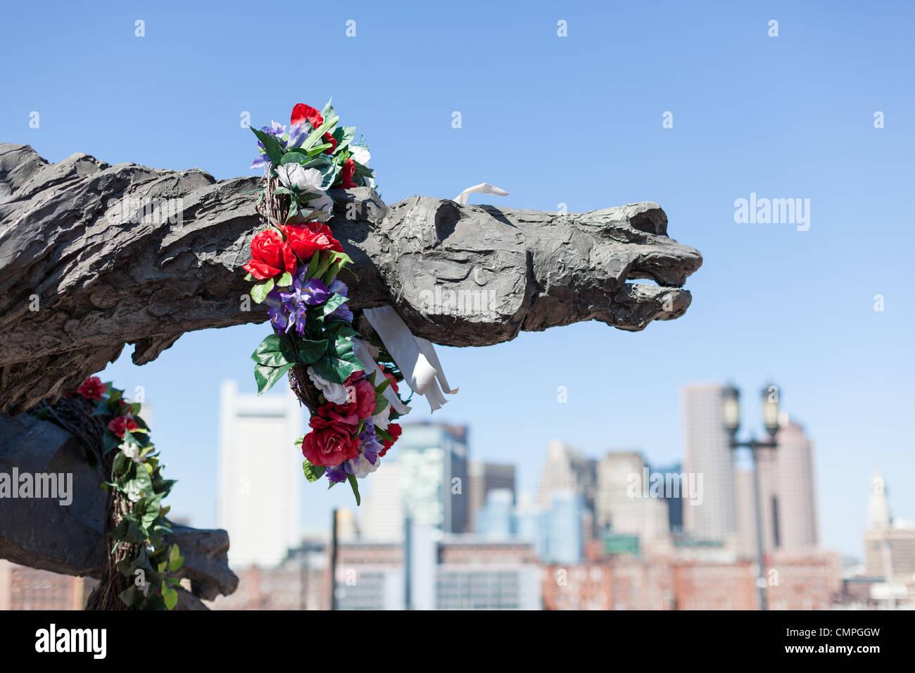 Andrew Pitynski Partisans Statue at World Trade Station in Boston Massachussetts - Stock Image
