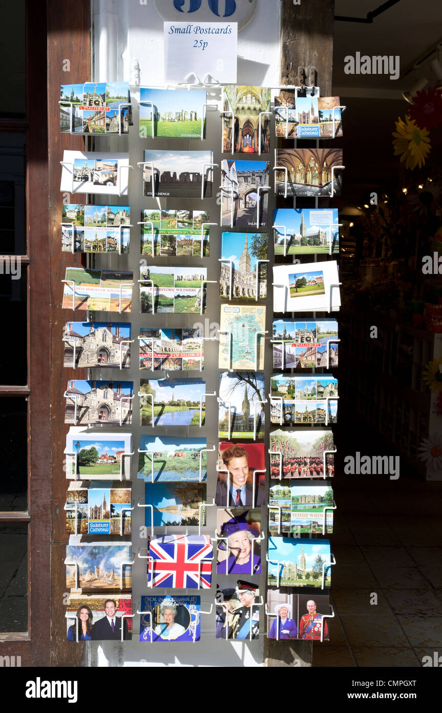 Picture postcards for sale outside of a UK shop - Stock Image