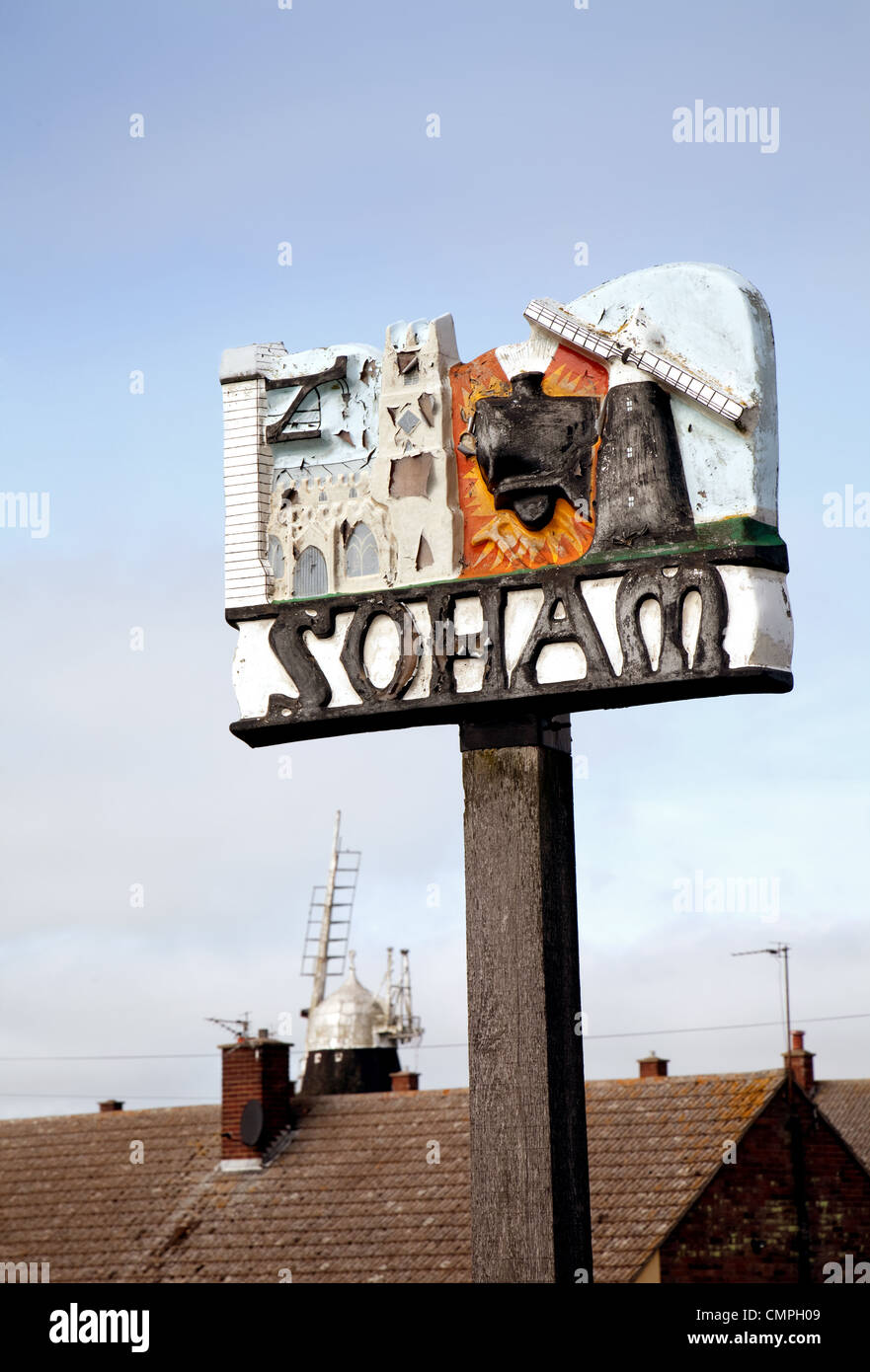 Soham town sign, Soham, Cambridgeshire UK - Stock Image