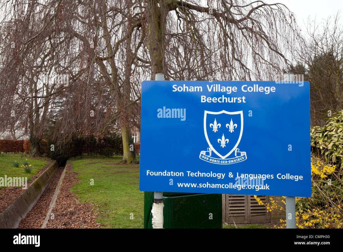 Beechurst entrance sign, Soham Village College Secondary school, Soham Cambridgeshire UK - Stock Image