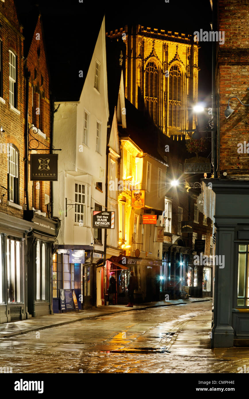 Stonegate and York Minster at night - Stock Image