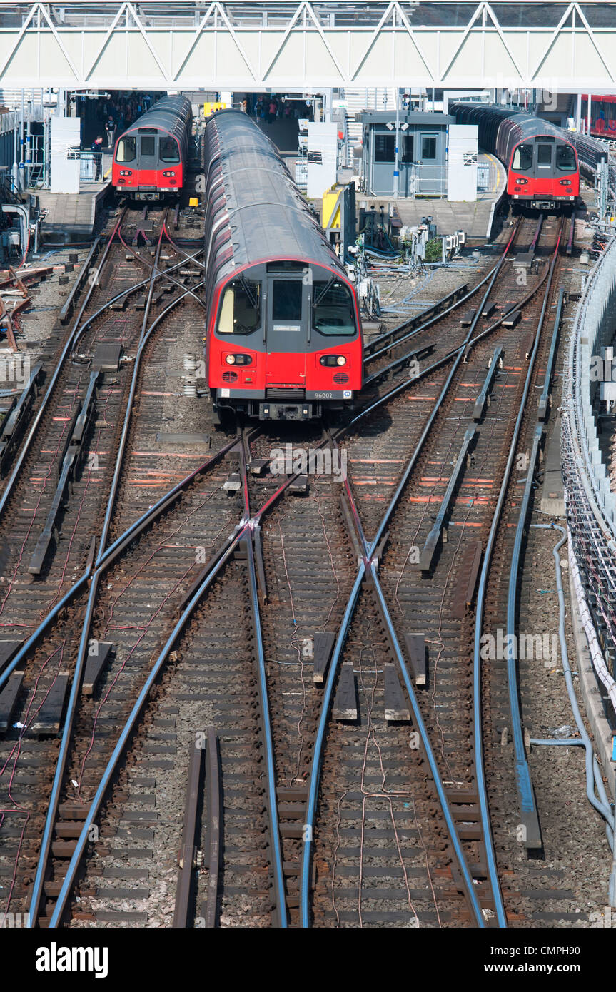 LONDON, UK – MARCH 24: High angle shot of London Underground trains at station and tracks, on March 24, 2012 in - Stock Image