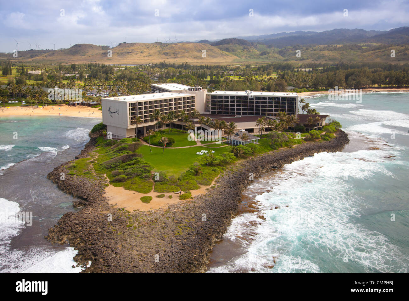 Aerial view of Turtle Bay Resort on the north shore of Oahu, Hawaii - Stock Image