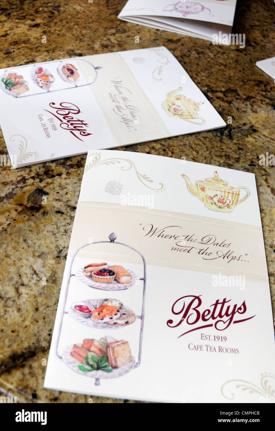 Menus on a table in Bettys tea Rooms, York, UK - Stock Image