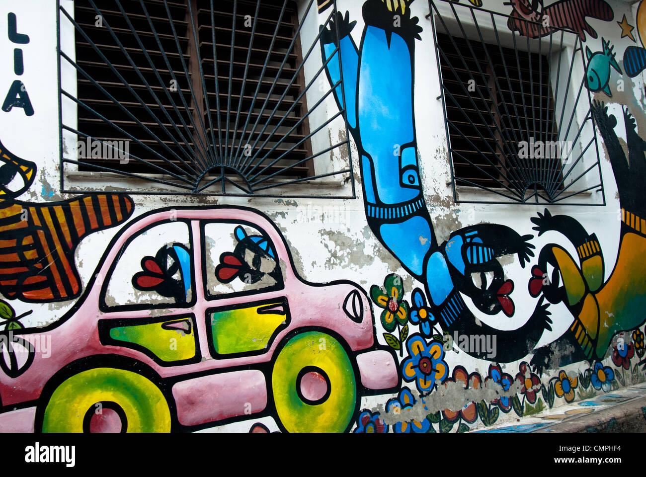 Painted/ graffiti walls in Camaguey, Cuba Stock Photo