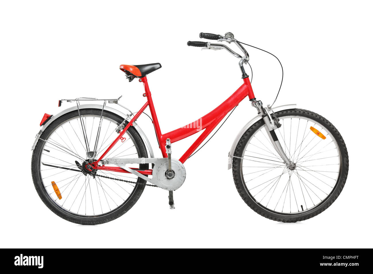 A studio shot of a bicycle isolated against white background - Stock Image