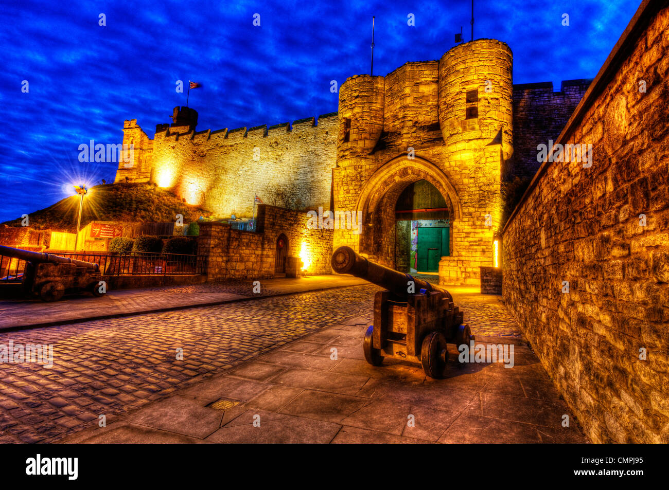 Lincoln Castle at night, Lincoln England - Stock Image