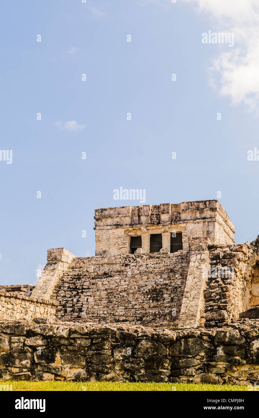 The ruins of the Maya civilization city at Tulum, on the coast of Mexico's Yucatan Peninsula. It was once known - Stock Image