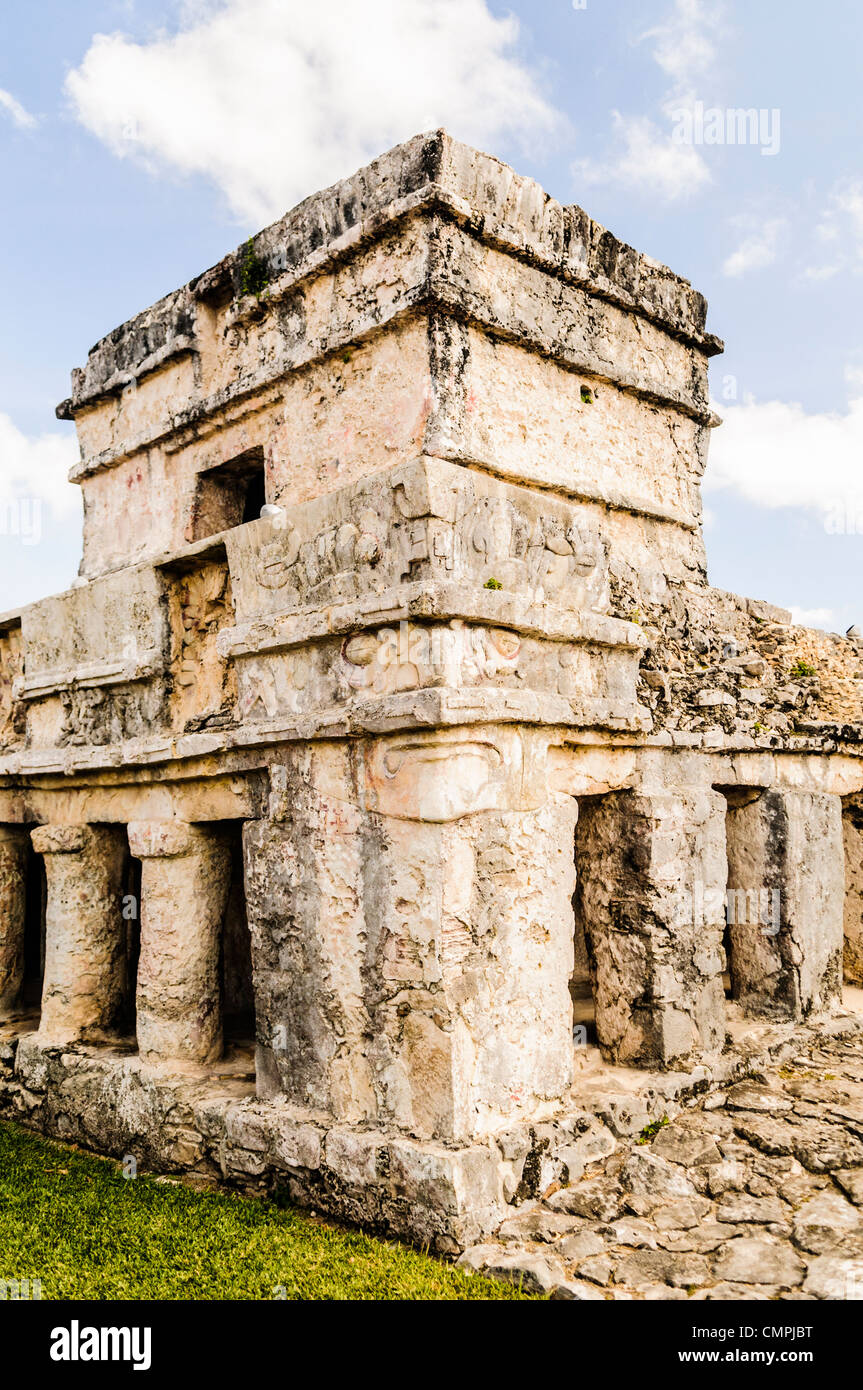 Temple of the Frescoes structure at the Maya civilization ruins of Tulum on Mexico's Mayan Riviera coast. - Stock Image