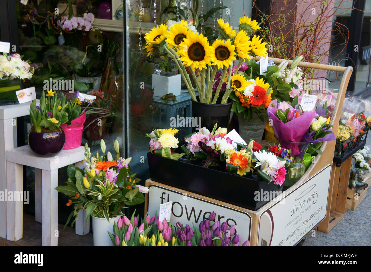 Spring Flower Display Outside A Florist Shop In Yaletown Vancouver