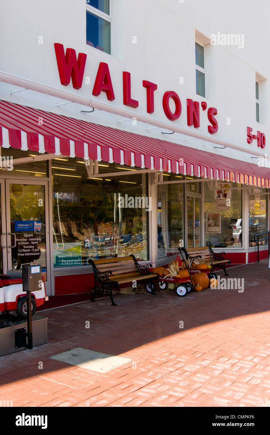 The Walmart Visitor's Center in Bentonville, Arkansas is housed in Walton's 5&10 dime store. Stock Photo