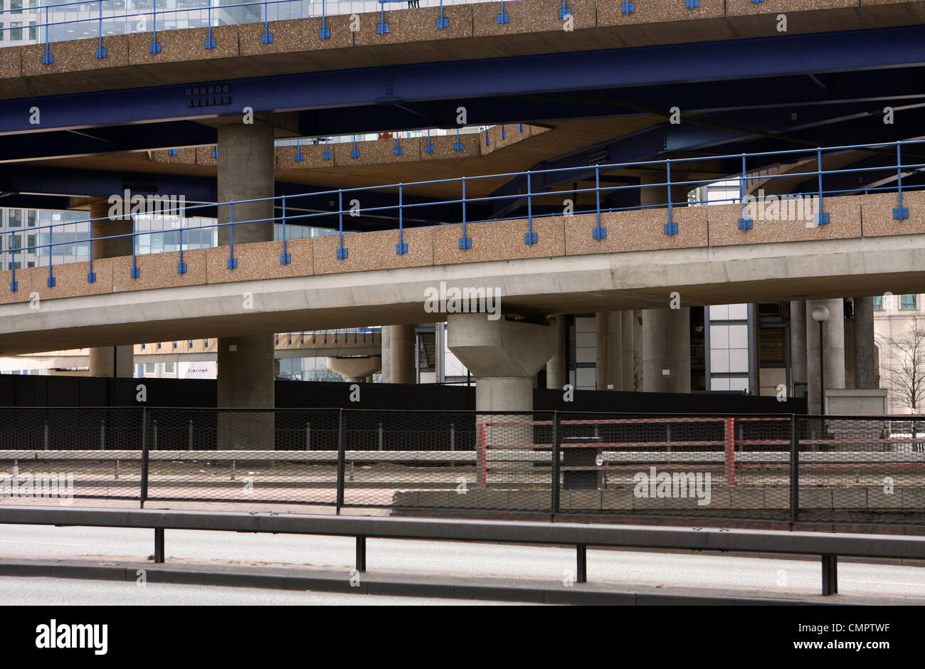 side view of roads and railway overpasses around London's Canary Wharf - Stock Image