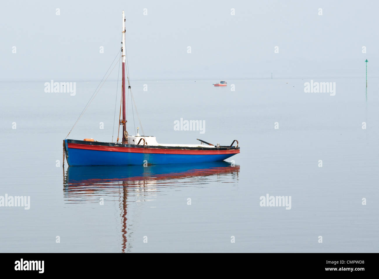 Lancashire Nobby traditional prawn fishing boat moored on a calm day at Morecambe, Lancashire - Stock Image