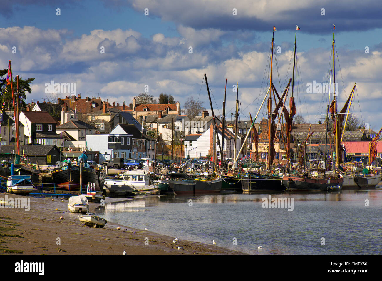The Essex town of Maldon on the Blackwater Estuary, with the town and barges visible. - Stock Image