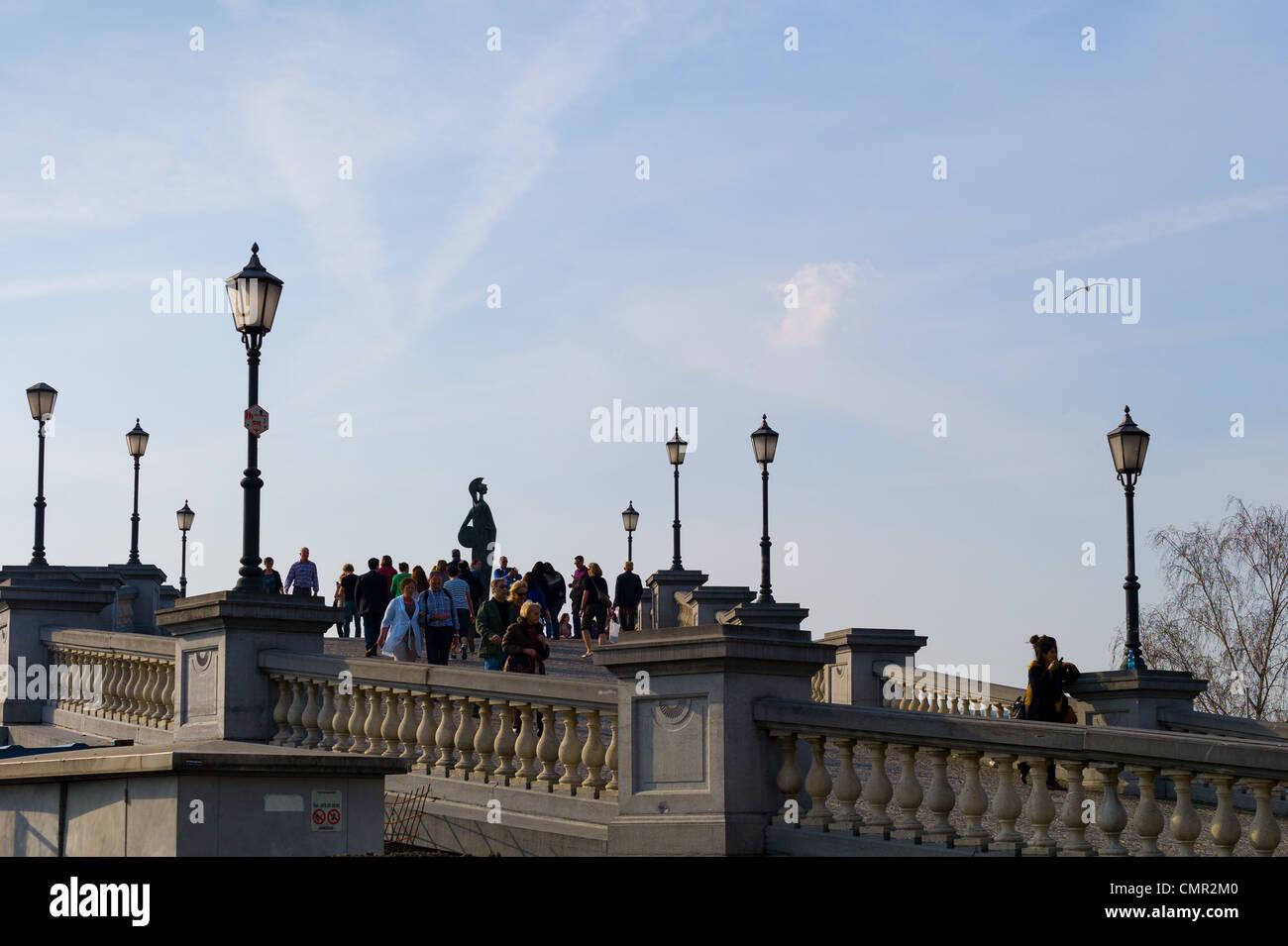 Walkway up to the waterfront in Antwerp, Belgium - Stock Image